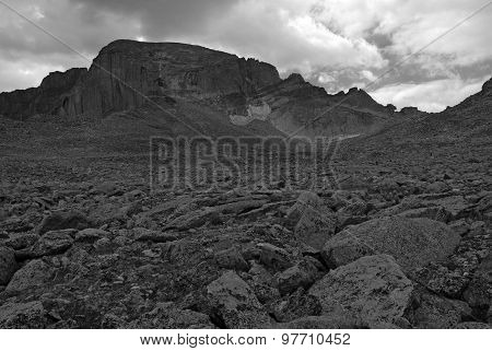 Longs Peak with approaching thunderstorm, Rocky Mountains, Colorado
