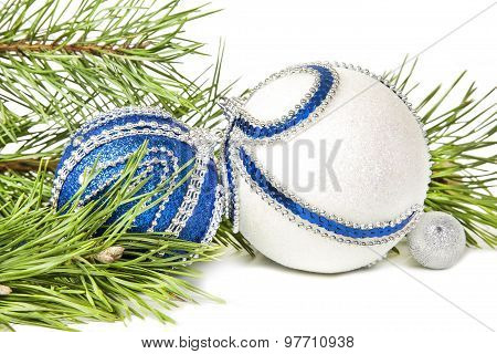 Christmas Spruce And Blue With White Glitter Balls