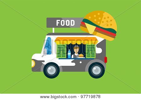 Fast food car icon. Meat grilled product, hot dogs, hamburger, auto transport, transportation, mobil