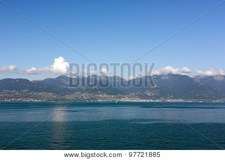 Beautiful View On Mountains And Lake In Evian, France