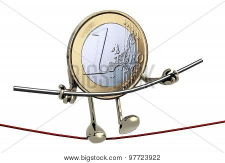 One Euro Coin Acrobat Who Walks On A Wire