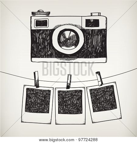 Vector hand drawn doodle illustration of retro photo frames and camera.
