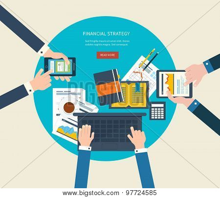 Flat design illustration concepts for business analysis and planning, online shopping, financial rep