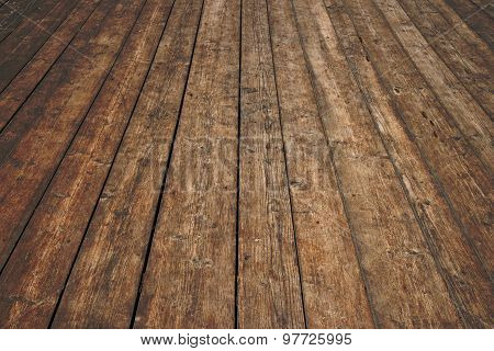 Old vintage rustic aged antique wooden sepia surface with gaps in perspective poster