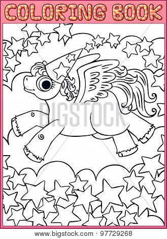 Coloring book page. Magical Pegasus and starry train