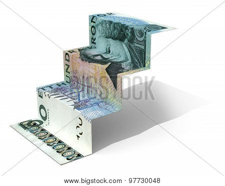 100 Swedish Crow Banknote Folded As Steps On White Background
