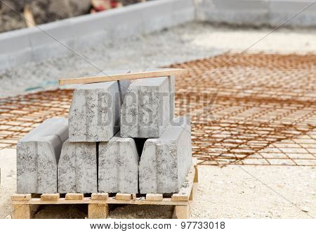 Kerbs On Pallete At Construction Site