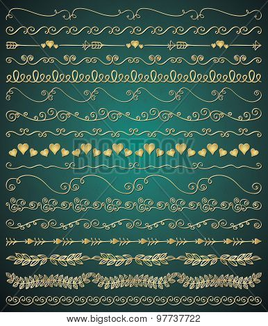 Vector Golden Hand Sketched Seamless Borders, Branches