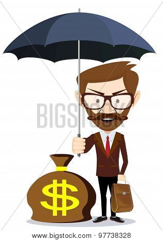 Businessman with umbrella stands and protects a money. Financial safety