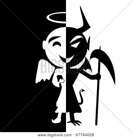 Bipolar disorder.Smile of saint and satan Angel and Devil in same person good or evil fake man poster