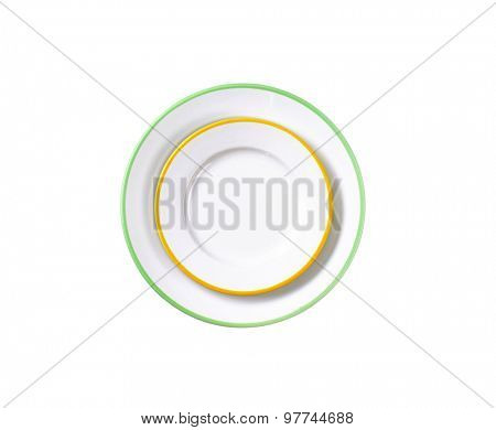 Dinner plate and side plate with colored edges isolated on white