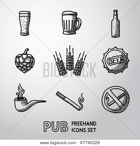 Pub, beer handdrawn icons set with - Glass and mug, bottle, hop and wheat, tap, pipe, cigarette, no smoking sign. Vector poster
