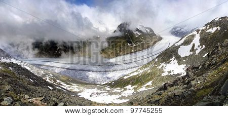 Aletsch Glacier, The Largest Gracier In Alps.