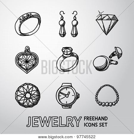 Jewelry monochrome freehand icons set with - rings, diamonds, watch, earrings, pendant, cuff links,