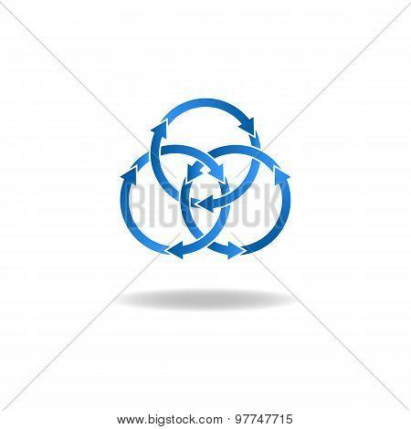 Blue Ring Arrows, Mockup Logo, Closed Loop, Vicious Circle Icon