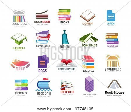 Book vector logo template set. Back to school. Education, university, college symbol or knowledge, books stack, publish, page paper. Design element. Isolated on white