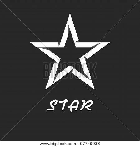 Paper Star Mockup Black And White Logo, Design Graphic Icon