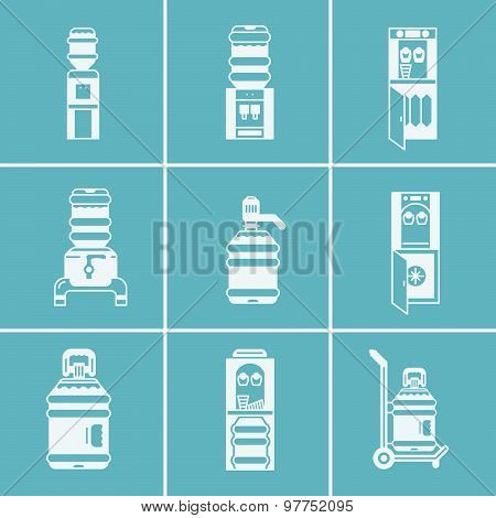 White vector icons for water coolers
