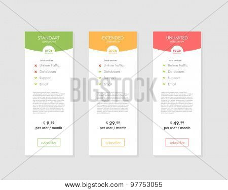 Pricing Table Template with Three Plan Type. Graphic Design on Gray Background. Three tariffs. interface for the site. ui ux vector banner for web app