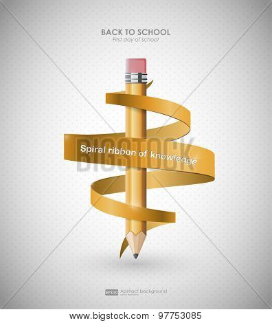 Creative template with pencil and spiral ribbon. Background  for back to school, can be used for infographics and banners, concept vector illustration. First day of school. Back to school