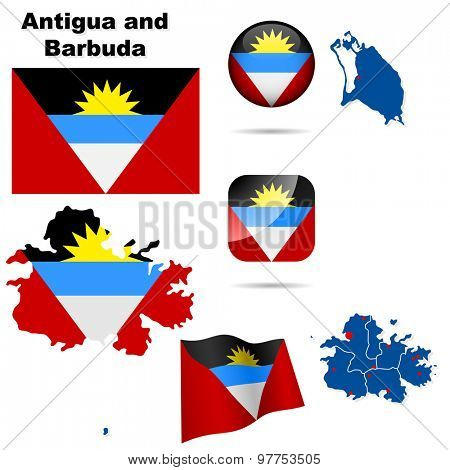 Antigua and Barbuda set. Detailed country shape with region borders, flags and icons isolated on white background.