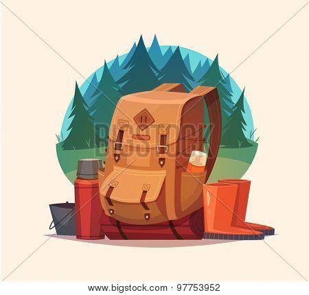 Camping emblem. Vector illustration.