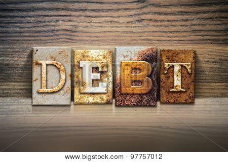 Debt Concept Letterpress Theme
