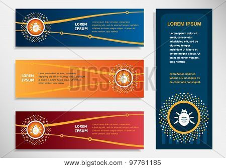 Bug Icon On Modern Abstract Flyer, Banner, Brochure Design Template