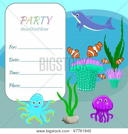 Sea Animals Invitation Children party invitation card template Colorful sea animals, fishes and plan