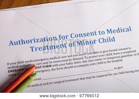 Medical Authorization Of Minor Child