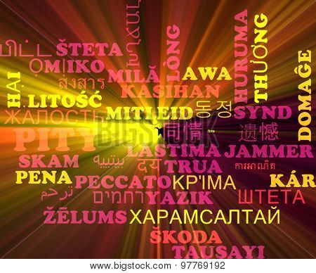 Background concept wordcloud multilanguage international many language illustration of pity glowing light