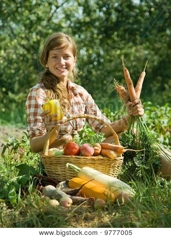 Happy Girl With Harvest