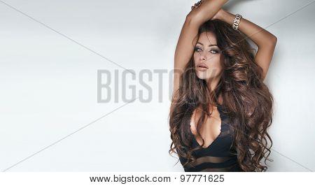 Sexy Brunette Beauty In Lingerie.