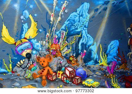 Street art Montreal sea diver