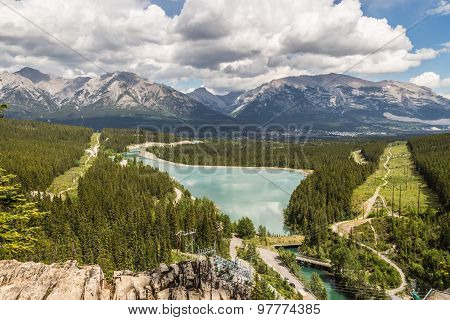 Grassi Lakes. two majestic turquoise lakes. Panoramic views of Canmore Grassi Lakes is also a popular rock climbing spot.