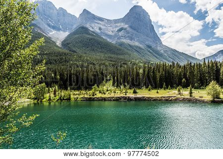 Lakes rivers mountains that forms the landscape of Canmore in the Rocky Mountains of Alberta Canada
