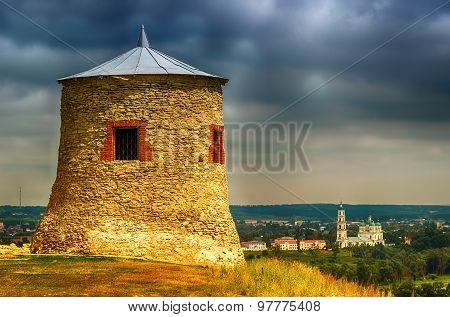 Stone Watchtower Damn Elabuga Settlement Of Tatarstan, Russia