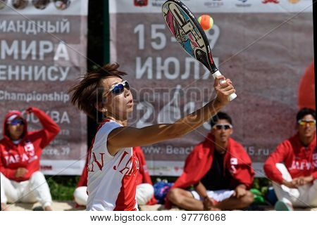 MOSCOW, RUSSIA - JULY 15, 2015: Kaori Yanase of Japan in the match of the ITF Beach Tennis World Team Championship against Belarus. Japan won 2-1