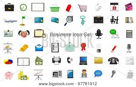 Business financial marketing activity and office stationary tool icon collection set for website create by vector poster