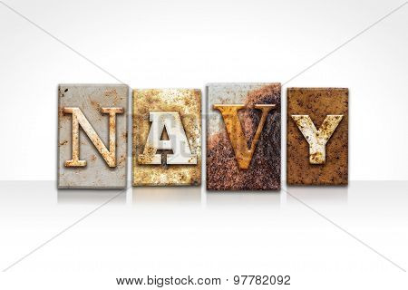 Navy Letterpress Concept Isolated On White