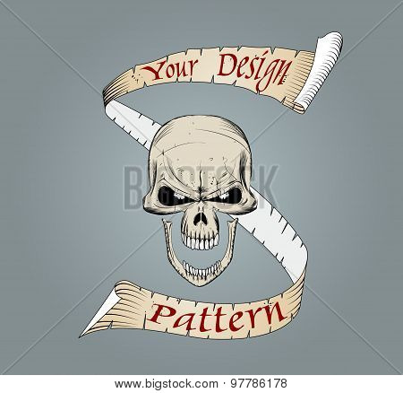 Colored complete human skull with a ribbon banner.