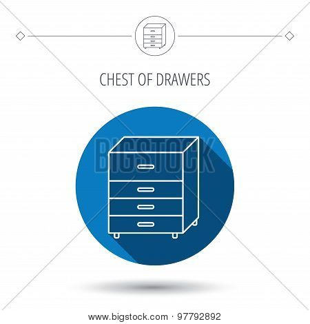 Chest of drawers icon. Interior commode sign. Blue flat circle button. Linear icon with shadow. Vector poster