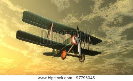 Biplane by sunset - 3D render
