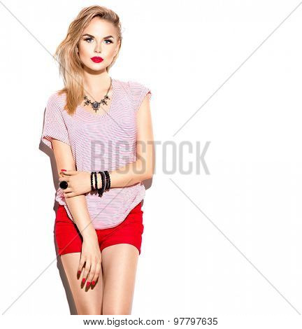 Teenage Fashion stylish Model Girl isolated on white background. Beauty girl dressed casual clothes. Beauty young woman posing in fashionable clothes. Teen fashion, urban style