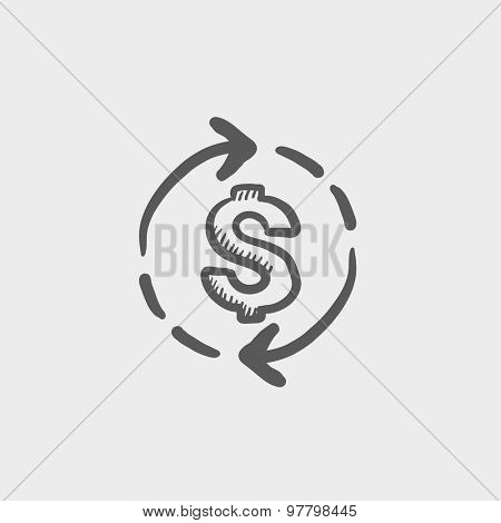 Money dollar symbol with arrow sketch icon for web and mobile. Hand drawn vector dark grey icon on light grey background.