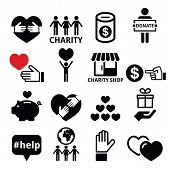 Vector icons set of solidarity among people, charity support poster