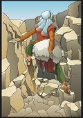 The shepherd rescues the lost sheep. Biblical parable. poster