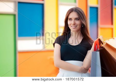 Happy Woman Shopping on Big Summer Sale
