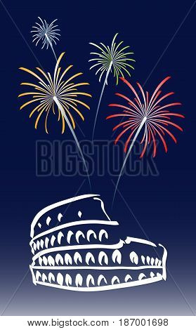 vector illustration for a proposed new year's day in Rome