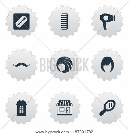 Vector Illustration Set Of Simple Hairdresser Icons. Elements Shaver, Whiskers, Drying Machine And Other Synonyms Hairdryer, Store And Razor.